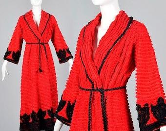 SALE Medium 1930s Chenille Robe Red And Black Loungewear Housecoat Vintage 30s Vintage Chenille Sleepwear
