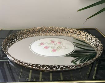 Decorative Floral Brass Mirrored Vanity Tray | Hollywood Regency | Perfume Tray | Brass Decor