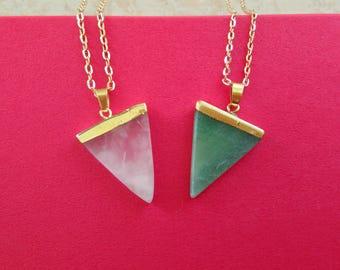 Triangle Quartz Necklace, Natural Quartz Triangle Necklace, Gemstone Pendant, Triangle Aventurine Necklace, Pink Rose Quartz Necklace