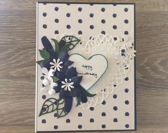 Elegant Happy Anniversary Card, Crisp Navy & White Flowers, Die Cut Lacy Heart