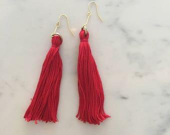 Crimson Red Long Fringe
