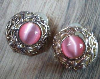 Pink Clip On Earrings Pink Earrings Ornate Metal Clip On Earrings Round Clip On Earrings Vintage Clip On Earrings