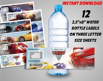 Cars 3 Water Bottle Labels, Disney Cars Water Bottle, Cars 3 Birthday Decor, Lightning McQueen Birthday, INSTANT DOWNLOAD - DIY Printable