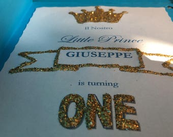 First birthday invitation blue and gold