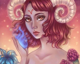 Aries - Zodiac, Astrology, 8.5x11 Fine Art Print, aries zodiac, aries art, constellation, pop surrealism