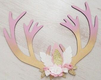 Handmade boho/tribal/floral Antlers - children's/kids home nursery decor,