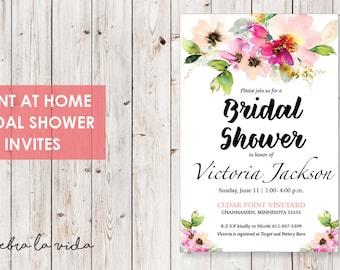Bridal Shower Invitation. Instant Download. Printable Bridal Shower Game. Pink Flowers. Pink - 01