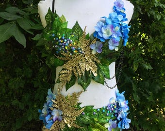 Blue & Gold Forest Fairy Costume {READY TO SHIP! 32B-34B S/M bottoms}