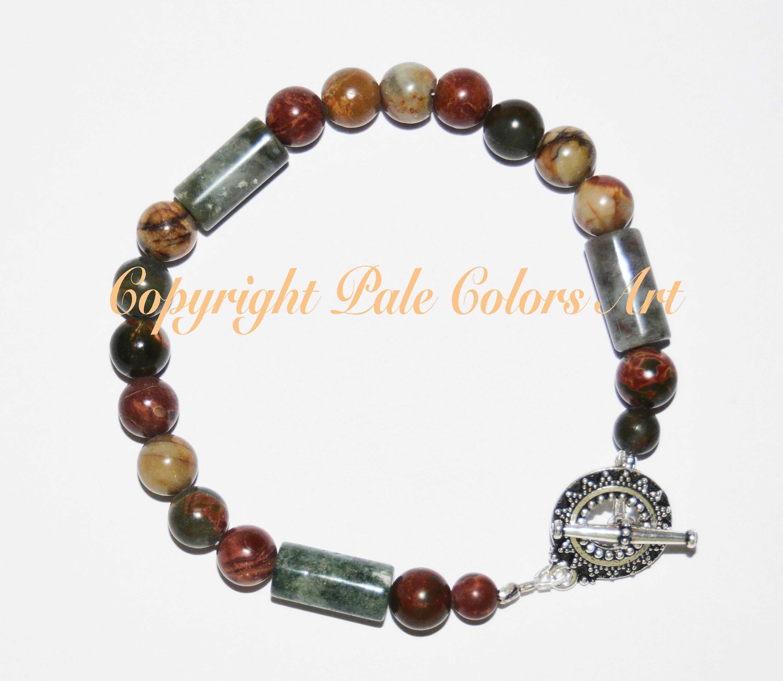 Indian Agate Stone Bead Bracelet, 8.5 Inch Bracelet, Indian Agate Bracelet, Medium Large Bracelet, 8mm Gemstone Bracelet