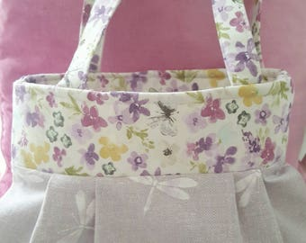 Pretty Fabric lilac dragonfly, floral trim print bag, handbag, shopping bag