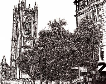 210x297mm Signed Print - Manchester Cathedral in Pen.