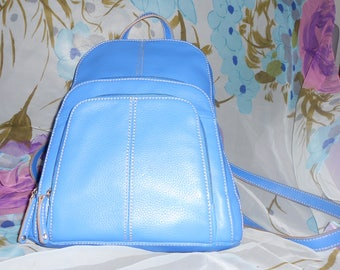 TIGNANELLO women's blue shoulder backpack  & organizer 100% leather
