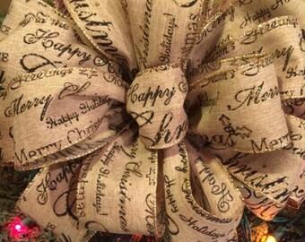 Christmas tree topper. Large Christmas tree bows. Christmas ribbon. Christmas decor. Christmas decorations. Rustic Christmas tree ribbon.