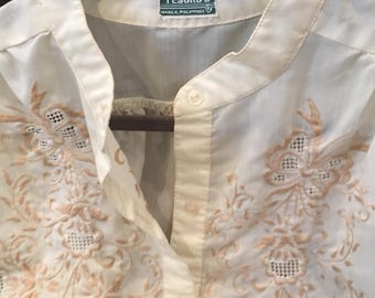 Vintage Embroidered Blouse 1950s