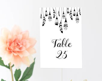Printable Table Numbers | Wedding | Event | Instant Download | Boho | Rustic | Boho Chic | Feathers | Patterns | Feather | 41 Cards