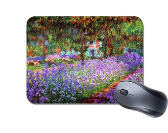Claude Monet The Garden At Giverny Mouse Mat. Fine Art Masterpiece High Quality Computer Mouse Pad Painting Gift