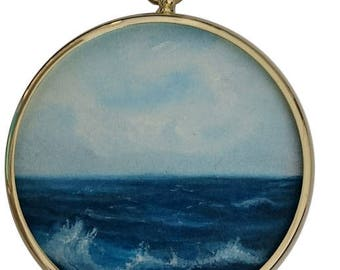 "Sea Oil Painting ""In the Deep"" - Small Painting in Antique style round Frame"