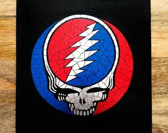 Grateful Dead Steal Your Face Foil Mosaic Wall Art | Canvas or Poster