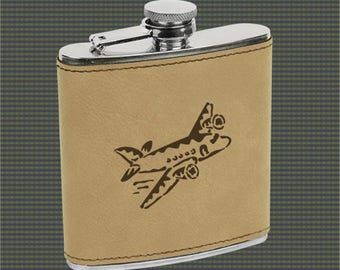 Leatherette Flask - Airplane Designs