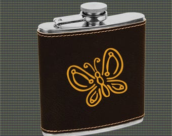 Leatherette Flask - Butterfly Designs
