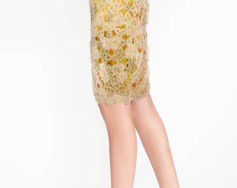 Crochet skirt/Crochet Pencil Skirt/Cocktail Crochet skirt/Knee Length Crochet skirt/Gold Crochet Pencil Skirt