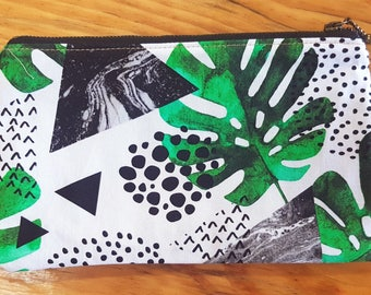 Zip Pouch - Green and Black Leaf
