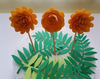 Set of 12 Yellow Paper Flower Cupcake Topper, Cake topper, 3D Paper Flower, Cupcake Decor, Birthday Topper, Party topper