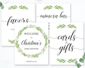 Greenery Baby Shower Sign Bundle Printable Favors Sign Green Wreath Wedding Welcome To Sign Bridal Shower Decorations Mimosa Bar Sign GL1
