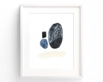 Stones, original artwork, abstract, watercolors