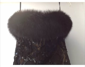 Vintage Victor Costa for Neiman Marcus dress/gown, genuine fox fur, black lace