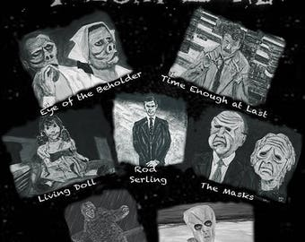 """The Twilight Zone Collage - An 11""""x14"""" print on fine art paper of 7 original acrylic paintings."""