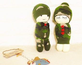 Free Shipping! Socks Doll making kit: Army couple