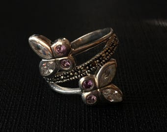 Silver and zirconia ring lilas