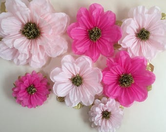 Hot pink light pink tissue paper flowers giant and 14 inches paper backdrop