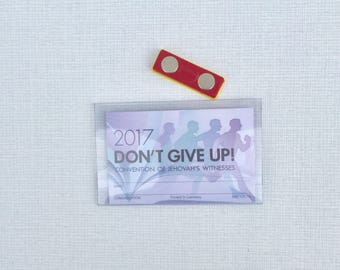JW Magnetic Badge Holder JW Convention - No pins to go through your clothing! For assemblies, ID, reusable for any jw.org assembly