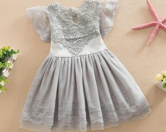 Grey Embroidety Flower Girl Dress