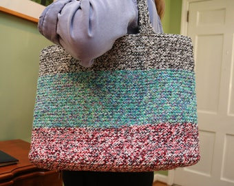 Medium Crocheted Multicolored Tote Bag - Black and White Handle