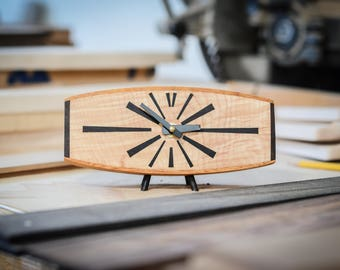 Mid Century Clock Modern Art Deco Clock made from recycled guitars