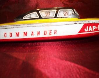 1940's vintage JAP-101 COMMANDER pop pop steam powered tin toy boat