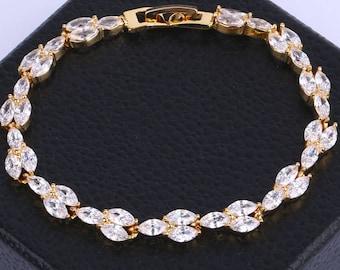 Bridal CZ Bracelet Bridal Zirconia Bracelet Wedding Crystal Bracelet Cubic Zirconia Gold Bracelet Bridal Jewelry Crystal Bridal Bracelet