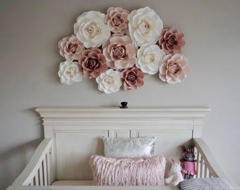 13 pc paper flower, wall decoration, nursery paper flowers, paper flowers backdrop
