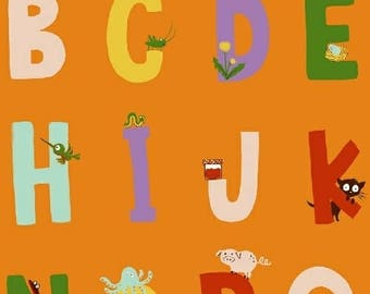 PREORDER - Heather Ross - Alphabet in Orange - Kinder - (43481-5) - 1/2 Yard++