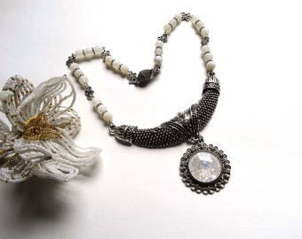 Silver white necklace Choker bib neck wedding, party, ceremony...
