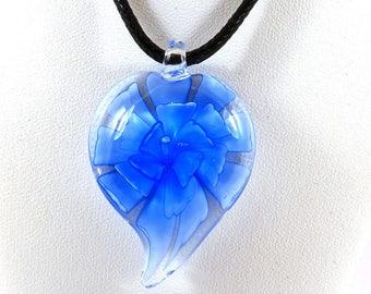 Intense blue heart lampwork necklace Locket Lampwork - gift idea for woman