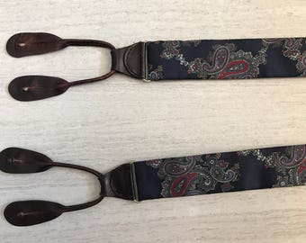 Navy Blue Paisley Leather Button On Suspenders
