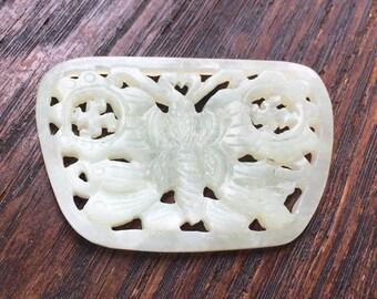 Vintage Carved Jade Butterfly Medallion