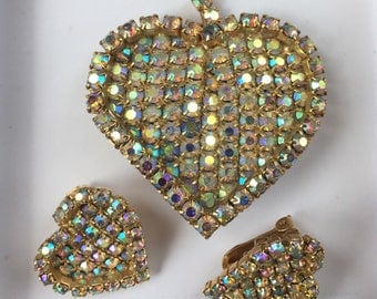 Vintage Rhinestone Brooch and Earrings Aurora Borealis