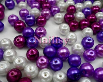 Mixed purple 100 REF1183X2 glass pearls