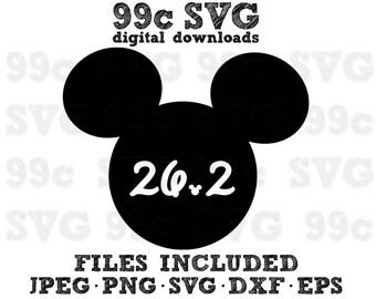 Run Disney 26.2 Mickey Head SVG DXF Png Vector Cut File Cricut Design Silhouette Cameo Vinyl Decal Party Stencil Template Heat Transfer Iron