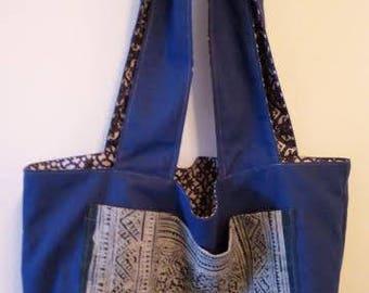 TOTE BAG handmade indigo reversible fabric shoulder bag